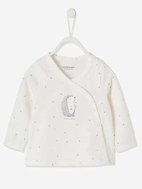 Click to view product details and reviews for Wrap Over Jacket In Organic Cotton For Newborn Baby White Light All Over Printed.