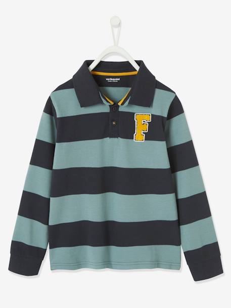Striped Polo Shirt in Piqué Knit with Patch for Boys BLUE DARK STRIPED+BLUE MEDIUM STRIPED