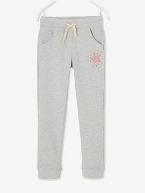 Click to view product details and reviews for Fleece Joggers For Girls Blue Dark Solid With Design.