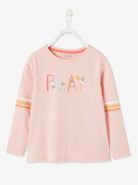 Click to view product details and reviews for Sports Top With Graphic Details For Girls Pink Light Solid With Design.
