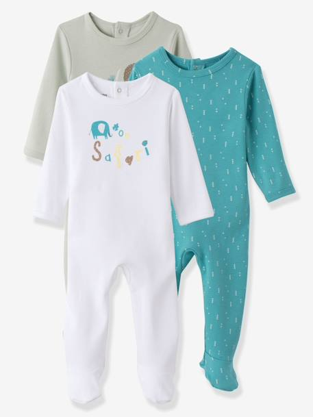 Baby Pack of 3 Printed Cotton Pyjamas, Back Press-Studs Light grey
