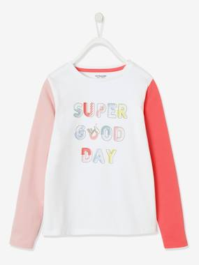 Click to view product details and reviews for Sports Top With Iridescent Inscription Contrasting Sleeves For Girls White Light Solid With Design.