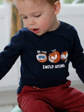 Click to view product details and reviews for Long Sleeved Top With Fun Motifs For Baby Boys Blue Dark Solid With Design.