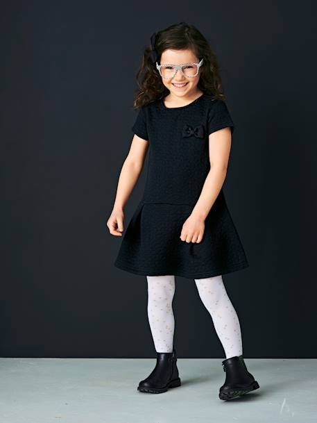 Girls' Pack of 2 Fancy Tights White star + black