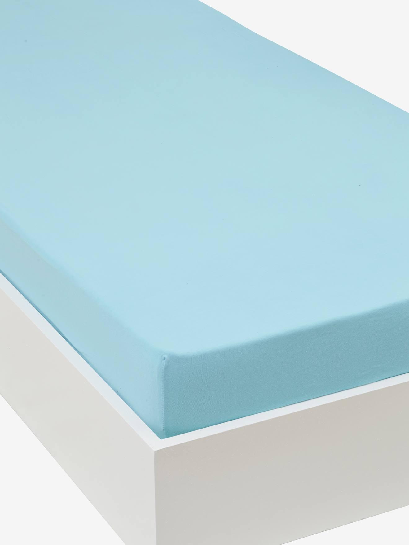 Childrenu0027s Plain Colour Stretch Jersey Knit Fitted Sheet   Blue, Furniture  U0026 Bedding   Vertbaudet