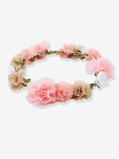 Girls' Flower Crown GREEN LIGHT SOLID WITH DESIGN+Pale pink + pink + grey + whit+WHITE LIGHT SOLID WITH DESIGN
