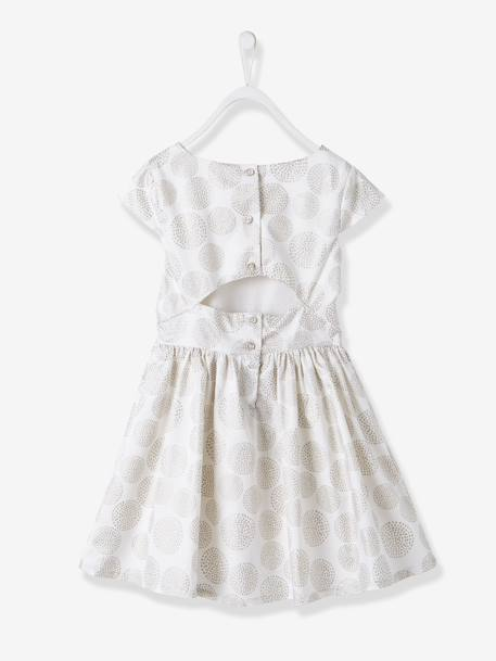 Girls' Polka Dot Occasion Dress Printed iridescent beige