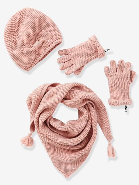 Girls' Hat, Scarf& Mittens or Gloves Set Cream+Dusky pink+Grey