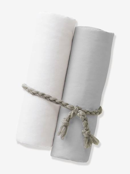 Pack of 2 Organic Collection Fitted Sheets 2 white+Ash + white