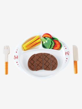 Image of 22-piece Wooden Steak Dinner Set muticolour