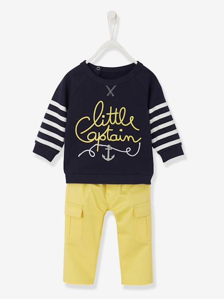 Baby Boys' Fleece Sweatshirt & Twill Trousers Outfit Set GREY MEDIUM MIXED COLOR+Ink + yellow pack