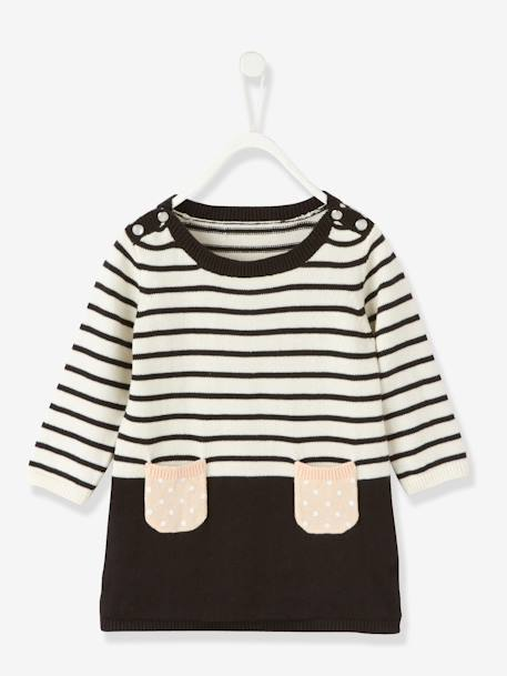 Baby Striped Knitted Dress Ecru striped