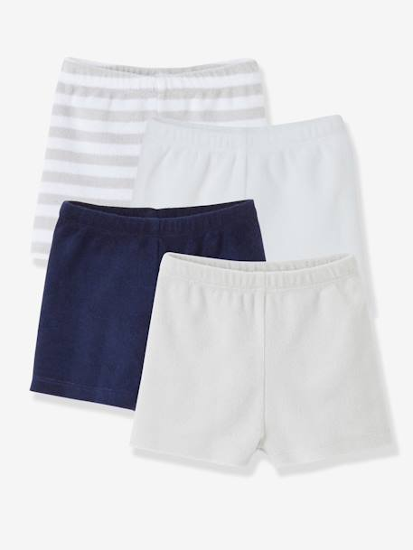 Pack of 4 Baby Boys Terry Swim Shorts Pale grey striped