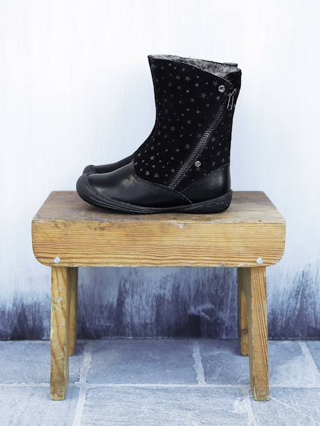Girls' Leather Boots Black+Tan
