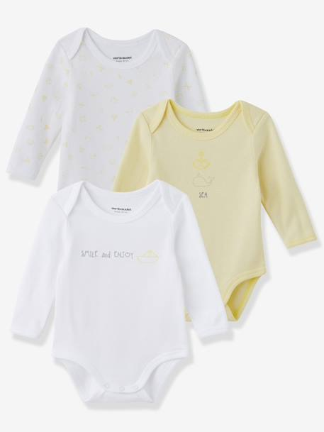 Baby Pack of 3 Coloured Long-Sleeved Bodysuits, Yacht Motif, Organic Collection Pale pink+Pale yellow+Pearl