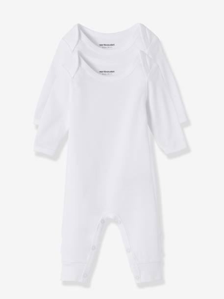 Baby Pack of 2 Long-Sleeved White Bodysuits wth Legs White pack