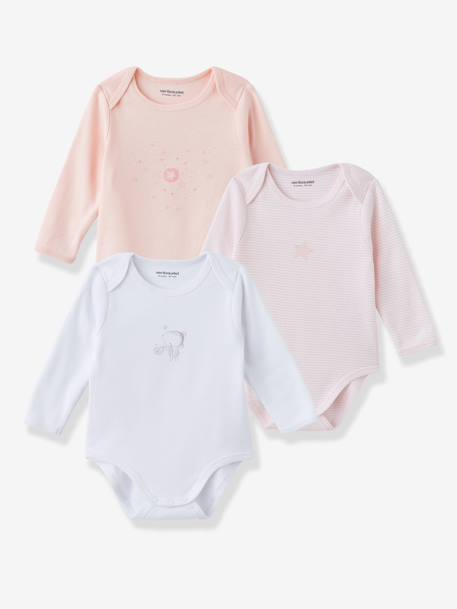 Baby Pack of 3 Coloured Pure Cotton Bodysuits with Long Sleeves Pale grey+Pale pink