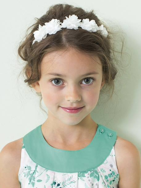 Braided Headband with Tulle Flowers White