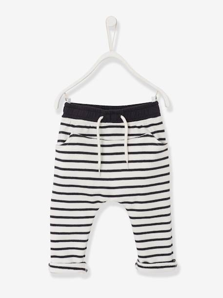 Baby Boys Fleece Trousers Ecru striped+ORANGE MEDIUM SOLID WITH DESIG+Printed light taupe