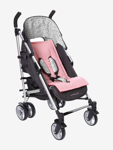 VERTBAUDET Reversible Pushchair Seat Protector GREY LIGHT ALL OVER PRINTED+MEDIUM BLUE MARL+Pink print / fuchsia