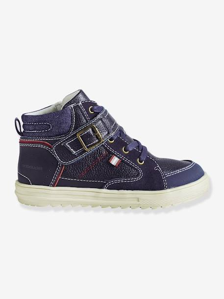 Boys' Leather Ankle Boots BROWN MEDIUM 2 COLOR/MULTICOL+Navy