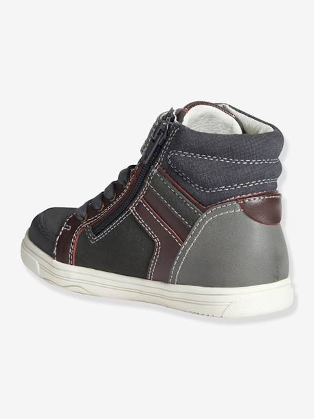 Boys' High Top Leather Trainers Brown+Storm grey