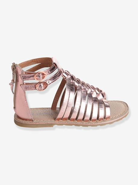 Girls Leather Sandals BLACK DARK SOLID WITH DESIGN+Metallic pale pink+Multicolour silver