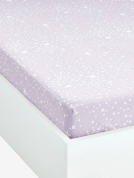 Fitted Sheet, Tiny Fairy Theme Violet / stars