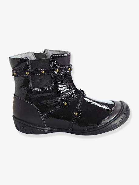 Girls' Leather Boots, Designed for Autonomy Black+Red