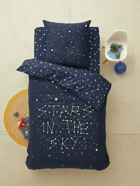 Glow-In-The-Dark Set with Duvet Cover & Pillowcase, Stars in the Sky Theme Midnight blue