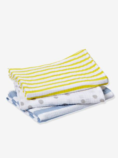 Pack of 3 Baby Nappies Grey/stripes and stars+Multicolour/geometric+Multicolour/stripes and polka