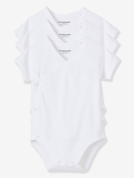 Pack of 3 Short-Sleeved Bodysuits for Newborns White pack