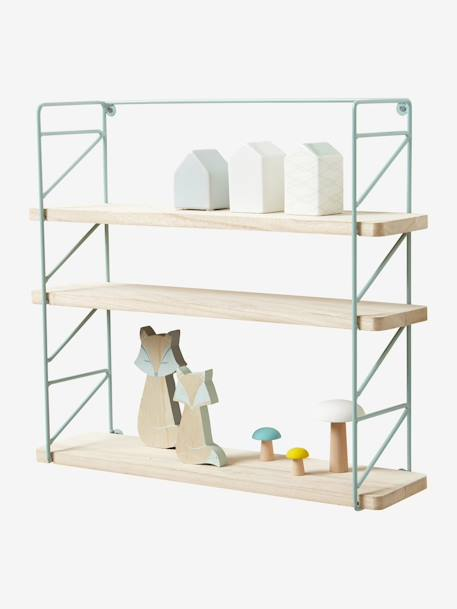 Metal & Wood 3-Level Shelving System Green