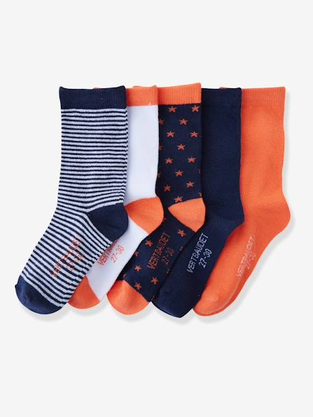 Girls' Pack of 5 Pairs of Ankle Socks Dark blue pack+Grey pack+Light pink striped pack+ORANGE BRIGHT 2 COLOR/MULTICOL