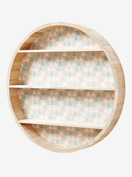 Round Wall Shelf Wood/grey
