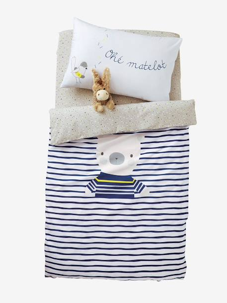 Baby Fitted Sheet, Fun Sailor Theme Grey/white