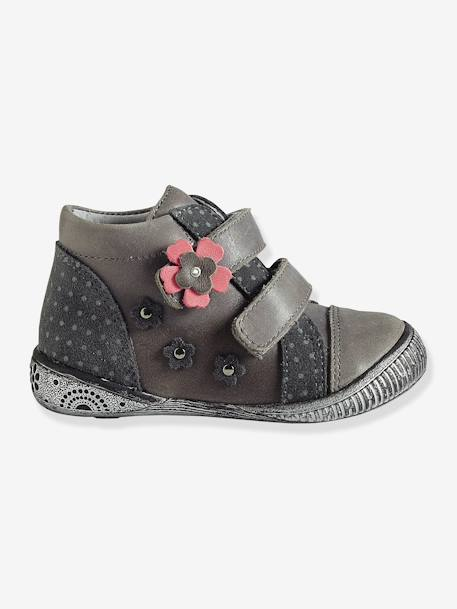 Girls' Leather Touch 'N' Close Boots Grey