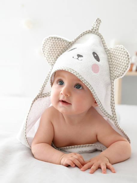 Baby Hooded Bath Cape With Embroidered Animals GREEN LIGHT SOLID WITH DESIGN+Grey blue+Pink+White