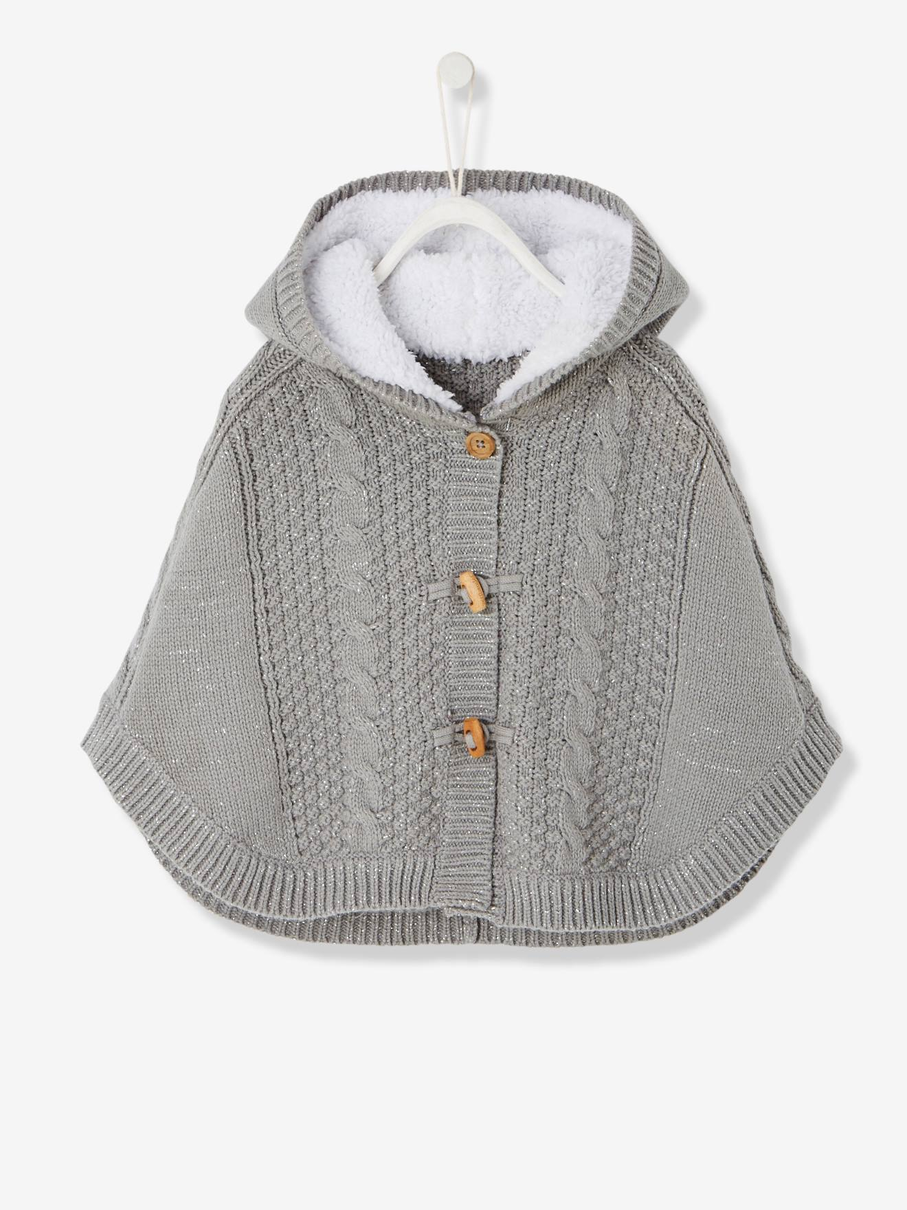 4ee5e354ff17 Baby Girls  Hooded Iridescent Knit Poncho