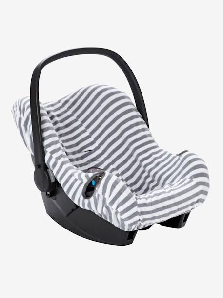Elasticated Cover for Group 0+ Car Seat Grey/white striped+MEDIUM BLUE MARL