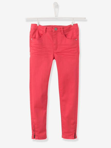 WIDE Fit - Girls' Skinny Trousers BLUE DARK SOLID+GREEN DARK SOLID+Pink+RED DARK SOLID