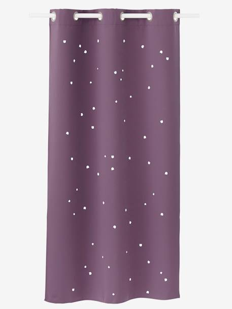 Curtain with Cat Head Cutouts PURPLE DARK SOLID WITH DESIGN