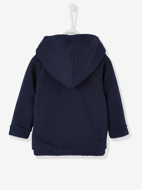 Baby Boys' Reversible Jacket with Hood BLUE DARK ALL OVER PRINTED