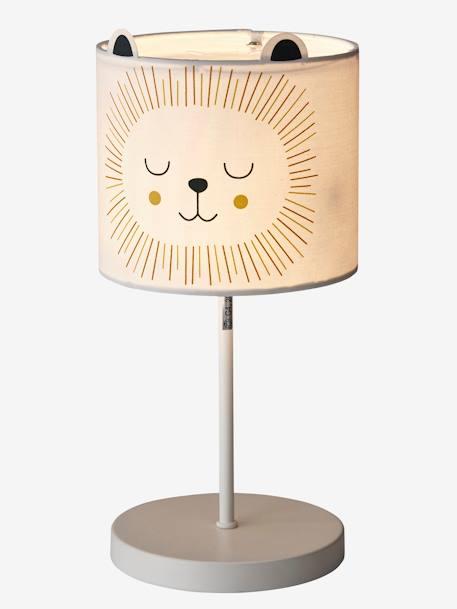 Lion bedside table lamp beige light solid with design