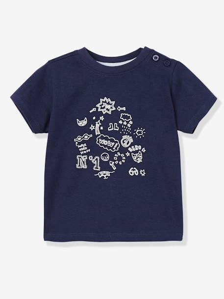 Pack of 2 Baby Boys' Long-Sleeved T-Shirts with Decorative Motifs BLUE DARK TWO COLOR/MULTICOL