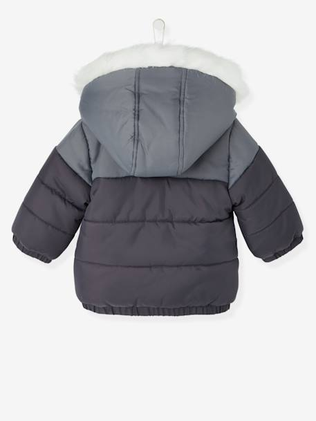 Boys' Hooded & Lined Padded Jacket GREY DARK SOLID