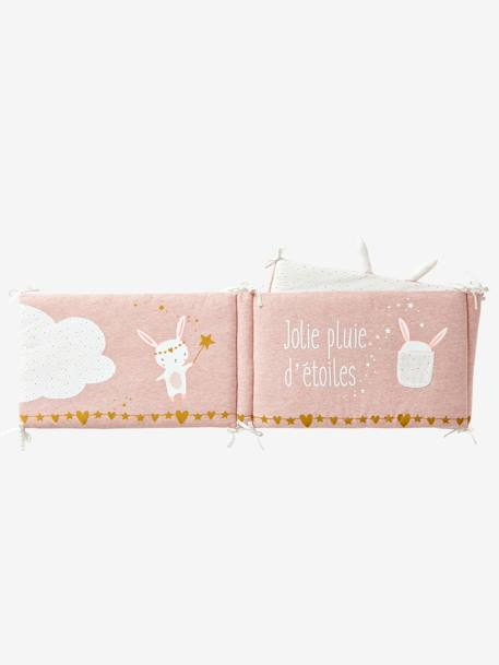 Cot Bumper, Magic Theme PINK LIGHT SOLID WITH DESIGN