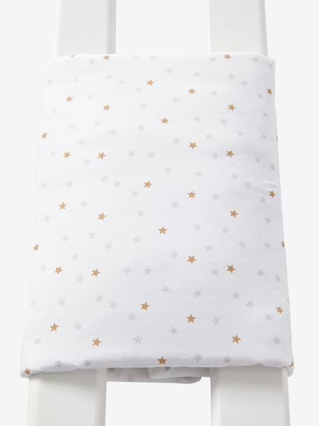 Breathable Cot Bumper WHITE LIGHT ALL OVER PRINTED
