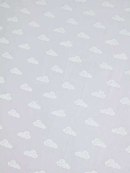 Baby Fitted Sheet, Dream Cloud Theme GREY LIGHT ALL OVER PRINTED