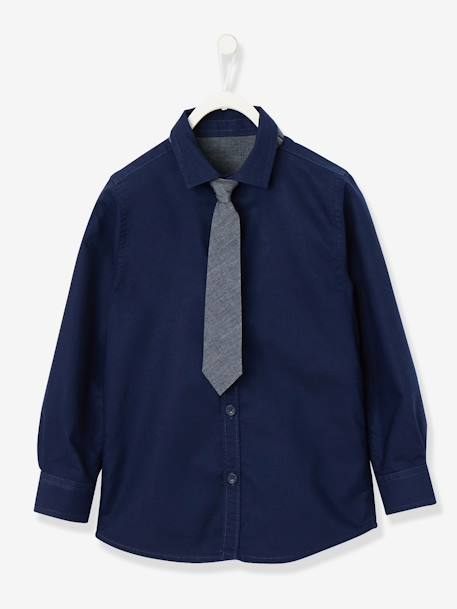 Boys' Shirt with Tie BLUE DARK SOLID